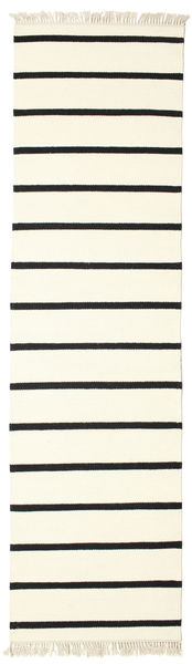 Dorri Stripe - Vit/Svart Teppe 80X300 Ekte Moderne Håndvevd Teppeløpere Beige/Hvit/Creme (Ull, India)