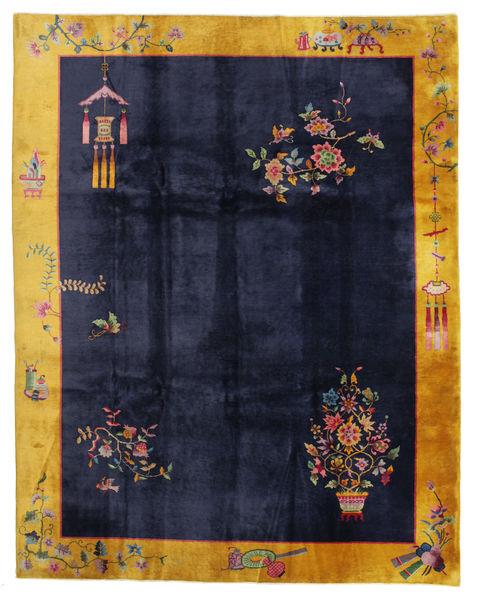 Kina Antikke: Art Deco 1920 Teppe 280X355 Ekte Orientalsk Håndknyttet Svart/Mørk Grå Stort (Ull, Kina)