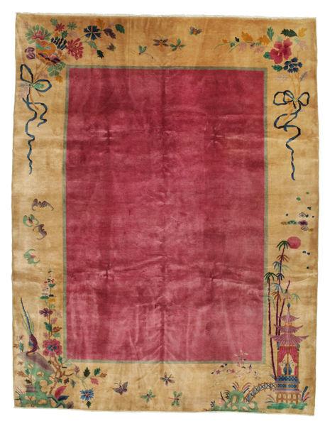 Kina Antikke: Art Deco 1920 Teppe 275X360 Ekte Orientalsk Håndknyttet Lysbrun/Rød/Mørk Rød Stort (Ull, Kina)