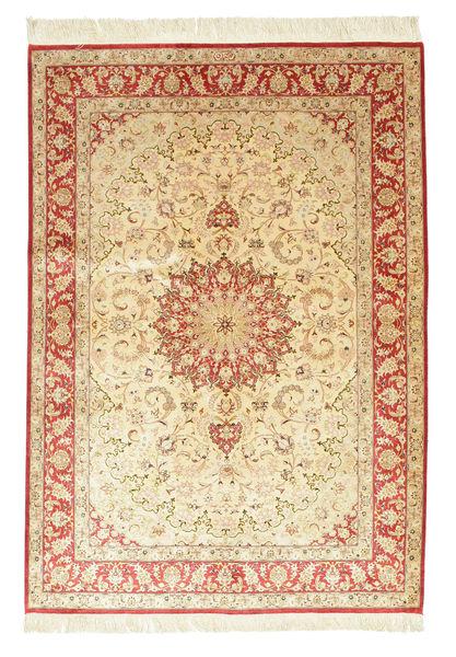Ghom Silke Signert: Ahmadi Teppe 139X198 Ekte Orientalsk Håndknyttet Beige/Lyserosa (Silke, Persia/Iran)