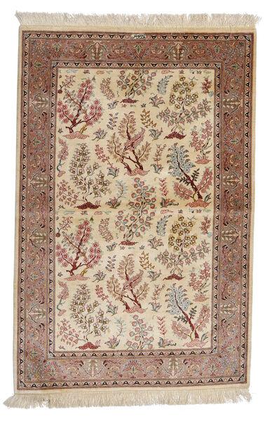 Ghom Silke: Ghom Motavasei Teppe 102X155 Ekte Orientalsk Håndknyttet Beige/Brun (Silke, Persia/Iran)