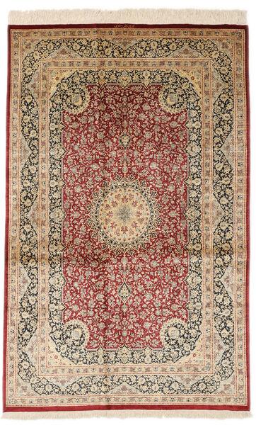Ghom Silke Signert: Razavi Teppe 125X203 Ekte Orientalsk Håndknyttet Mørk Beige/Mørk Rød (Silke, Persia/Iran)