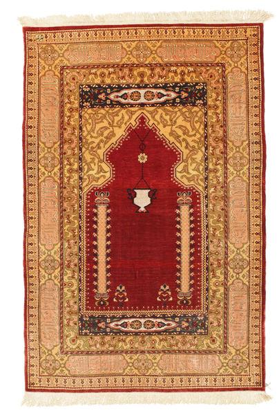 Herike Tu Teppe 82X130 Ekte Orientalsk Håndknyttet Mørk Rød/Lysbrun (Silke, Tyrkia)
