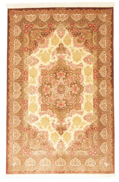 Ghom Silke Signert: Rezai Teppe 130X203 Ekte Orientalsk Håndknyttet Lysbrun/Mørk Beige (Silke, Persia/Iran)