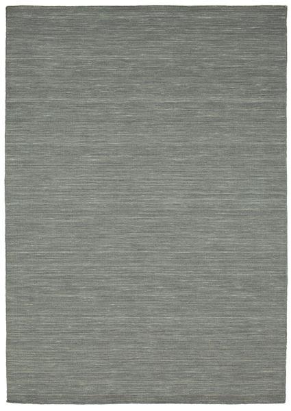 Kelim Loom - Mørk Grå Teppe 160X230 Ekte Moderne Håndvevd Lys Grå/Mørk Grønn (Ull, India)