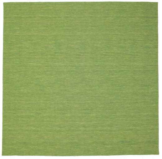 Kelim Loom - Grønn Teppe 300X300 Ekte Moderne Håndvevd Kvadratisk Olivengrønn/Lysgrønn Stort (Ull, India)