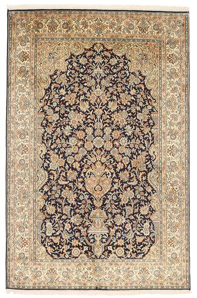 Kashmir Ren Silke Teppe 124X190 Ekte Orientalsk Håndknyttet Mørk Beige/Beige (Silke, India)