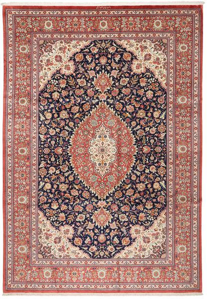 Ghom Silke Teppe 240X348 Ekte Orientalsk Håndknyttet Brun/Beige (Silke, Persia/Iran)