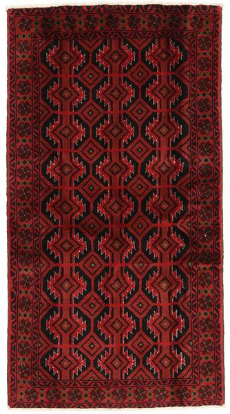 Beluch Teppe 108X198 Ekte Orientalsk Håndknyttet Mørk Rød (Ull, Persia/Iran)
