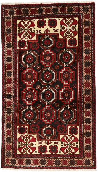 Beluch Teppe 101X178 Ekte Orientalsk Håndknyttet Mørk Rød/Mørk Brun (Ull, Persia/Iran)