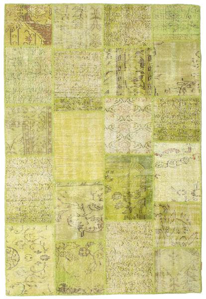 Patchwork Teppe 156X231 Ekte Moderne Håndknyttet Gul/Olivengrønn (Ull, Tyrkia)