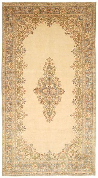 Kerman Teppe 317X595 Ekte Orientalsk Håndknyttet Mørk Beige/Beige Stort (Ull, Persia/Iran)