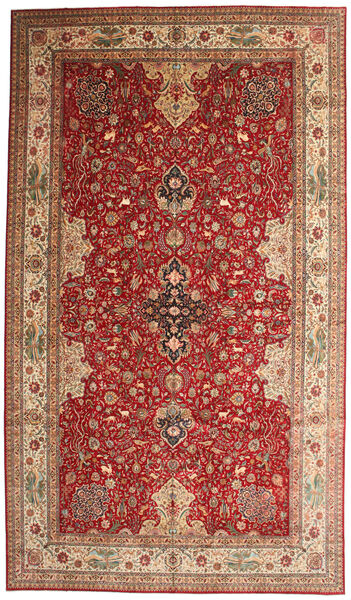 Tabriz 50 Raj Signert Torabi Teppe 378X660 Ekte Orientalsk Håndknyttet Mørk Rød/Brun Stort (Ull/Silke, Persia/Iran)