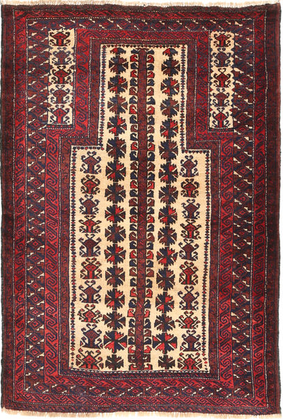 Beluch Teppe 95X142 Ekte Orientalsk Håndknyttet Mørk Rød/Mørk Brun (Ull, Afghanistan)