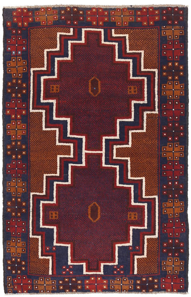 Beluch Teppe 82X131 Ekte Orientalsk Håndknyttet Mørk Rød/Mørk Lilla (Ull, Afghanistan)