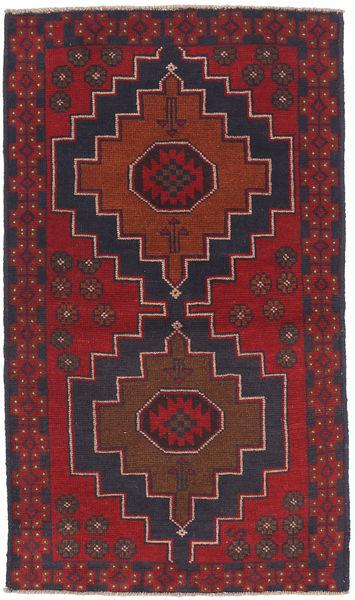 Beluch Teppe 83X146 Ekte Orientalsk Håndknyttet Mørk Rød/Svart (Ull, Afghanistan)