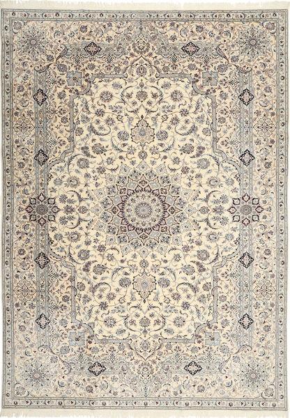Nain 6La Habibian Teppe 242X348 Ekte Orientalsk Håndknyttet Lys Grå/Beige (Ull/Silke, Persia/Iran)
