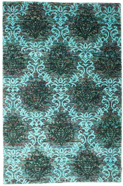 Kamala Teppe 190X290 Ekte Moderne Håndknyttet Mørk Grønn/Turkis Blå (Silke, India)