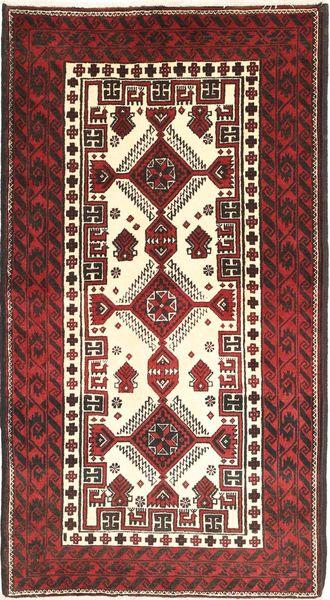 Beluch Teppe 97X180 Ekte Orientalsk Håndknyttet Mørk Rød/Beige (Ull, Persia/Iran)