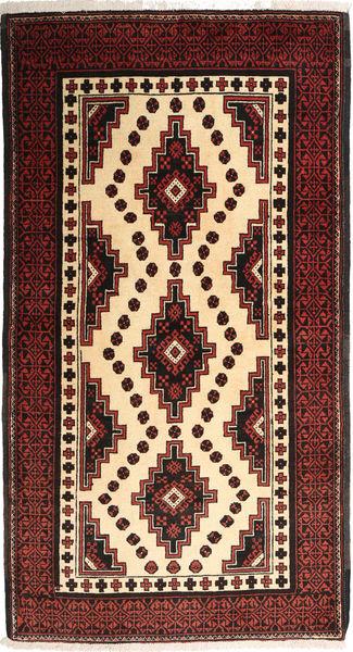 Beluch Teppe 100X185 Ekte Orientalsk Håndknyttet Mørk Rød/Mørk Brun/Beige (Ull, Persia/Iran)
