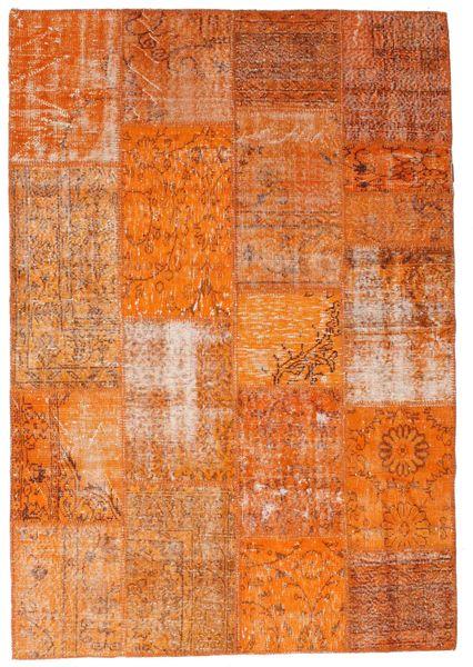 Patchwork Teppe 161X234 Ekte Moderne Håndknyttet Orange/Lysbrun (Ull, Tyrkia)