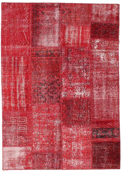 Patchwork Teppe 162X230 Ekte Moderne Håndknyttet Rød/Rust (Ull, Tyrkia)