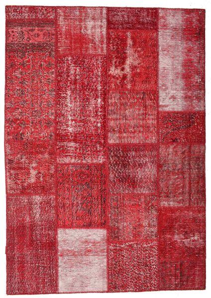 Patchwork Teppe 163X233 Ekte Moderne Håndknyttet Rød/Rust (Ull, Tyrkia)