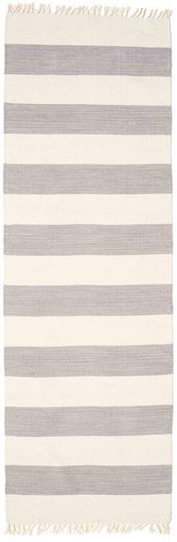 Cotton Stripe - Steel Grey Teppe 80X300 Ekte Moderne Håndvevd Teppeløpere Lys Grå/Mørk Grå (Bomull, India)