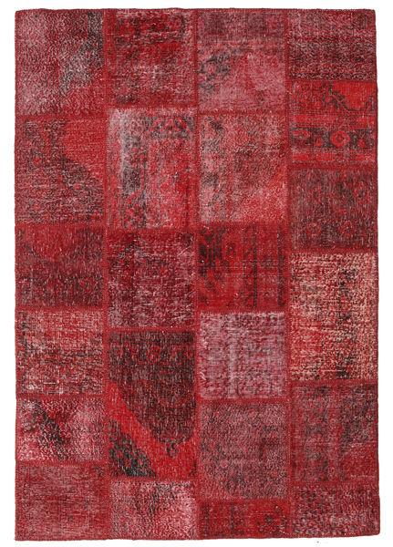Patchwork Teppe 159X232 Ekte Moderne Håndknyttet Mørk Rød/Rød (Ull, Tyrkia)