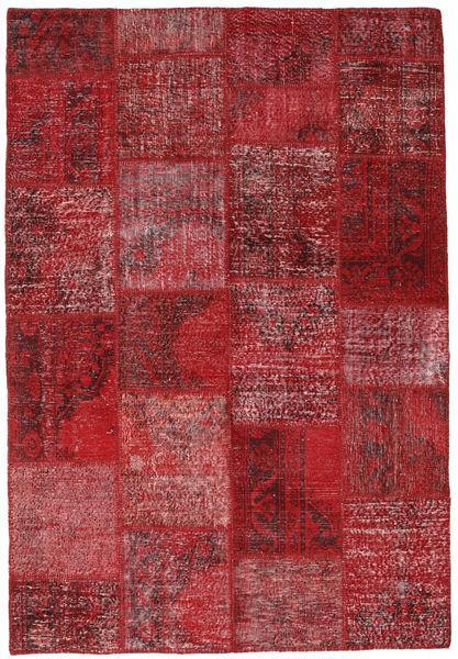 Patchwork Teppe 157X230 Ekte Moderne Håndknyttet Mørk Rød/Rød (Ull, Tyrkia)