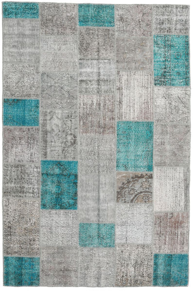 Patchwork Teppe 196X300 Ekte Moderne Håndknyttet Lys Grå/Turkis Blå (Ull, Tyrkia)