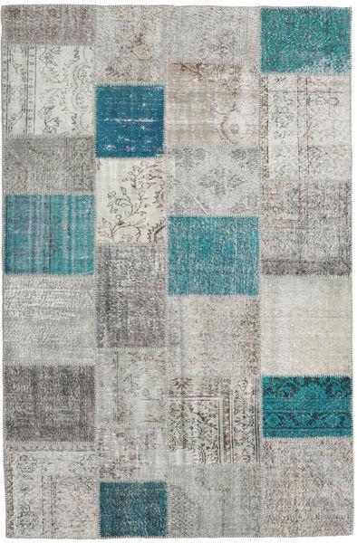 Patchwork Teppe 198X302 Ekte Moderne Håndknyttet Lys Grå/Blå (Ull, Tyrkia)