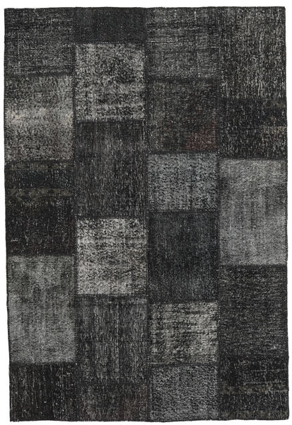 Patchwork Teppe 157X232 Ekte Moderne Håndknyttet Mørk Grå/Svart (Ull, Tyrkia)