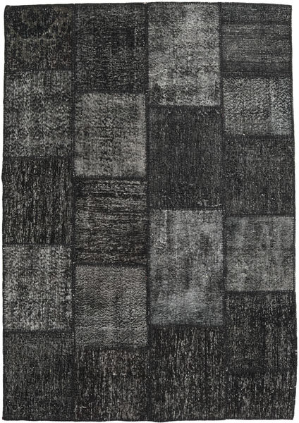 Patchwork Teppe 158X230 Ekte Moderne Håndknyttet Mørk Grå/Svart (Ull, Tyrkia)