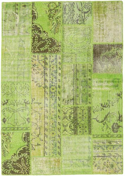 Patchwork Teppe 161X231 Ekte Moderne Håndknyttet Lysgrønn/Olivengrønn (Ull, Tyrkia)