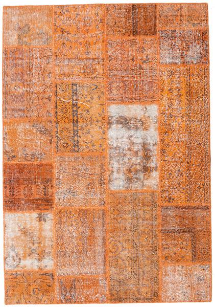Patchwork Teppe 161X232 Ekte Moderne Håndknyttet Lysbrun/Orange (Ull, Tyrkia)