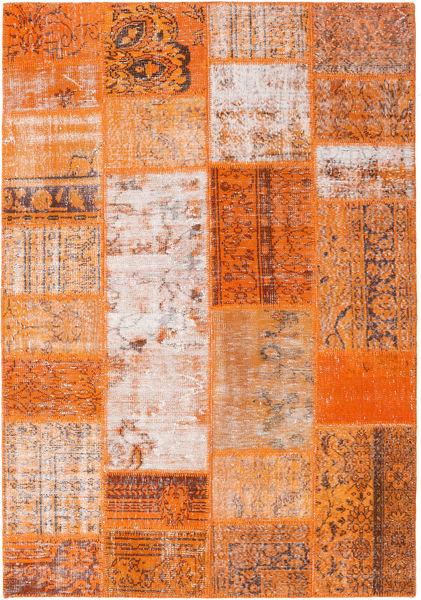 Patchwork Teppe 159X230 Ekte Moderne Håndknyttet Orange/Lysbrun (Ull, Tyrkia)
