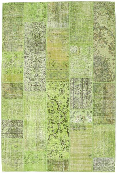 Patchwork Teppe 202X302 Ekte Moderne Håndknyttet Lysgrønn (Ull, Tyrkia)