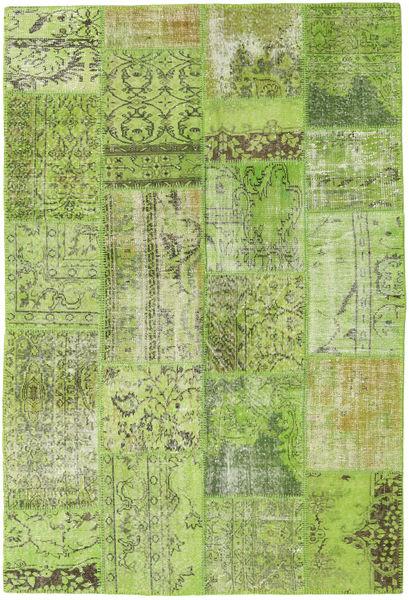 Patchwork Teppe 161X238 Ekte Moderne Håndknyttet Lysgrønn/Olivengrønn (Ull, Tyrkia)
