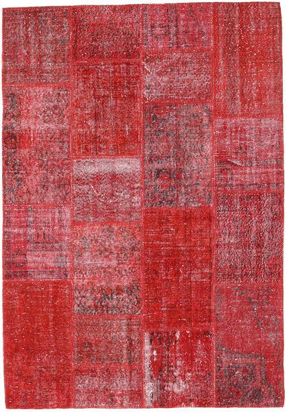 Patchwork Teppe 160X231 Ekte Moderne Håndknyttet Rød/Rust (Ull, Tyrkia)