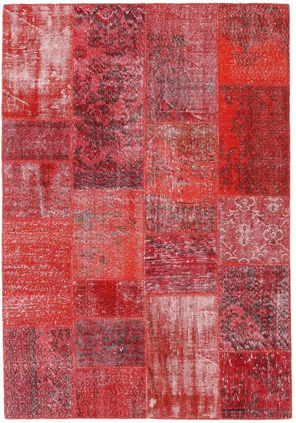 Patchwork Teppe 160X232 Ekte Moderne Håndknyttet Rød/Rust (Ull, Tyrkia)