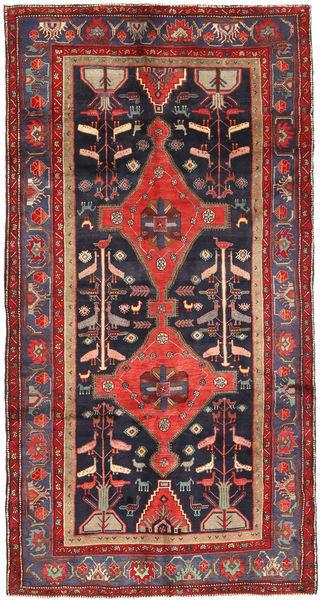 Koliai Teppe 150X290 Ekte Orientalsk Håndknyttet Teppeløpere Mørk Rød/Svart (Ull, Persia/Iran)