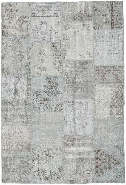 Patchwork Teppe 159X234 Ekte Moderne Håndknyttet Lys Grå/Turkis Blå (Ull, Tyrkia)