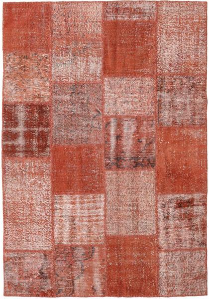 Patchwork Teppe 154X223 Ekte Moderne Håndknyttet Mørk Rød/Rød (Ull, Tyrkia)