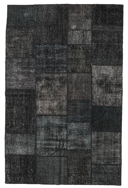 Patchwork Teppe 196X304 Ekte Moderne Håndknyttet Svart/Mørk Grå (Ull, Tyrkia)