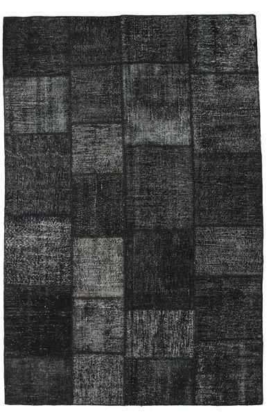 Patchwork Teppe 196X298 Ekte Moderne Håndknyttet Svart/Mørk Grå (Ull, Tyrkia)