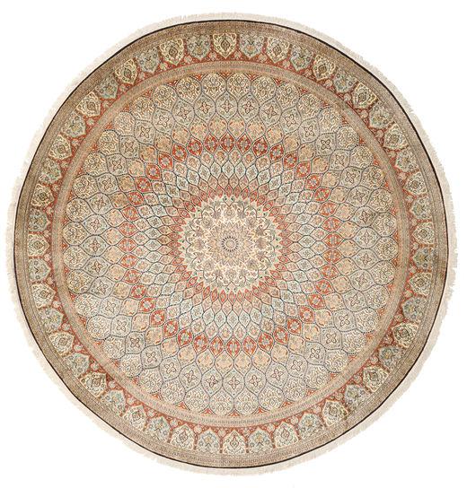 Kashmir Ren Silke Teppe Ø 248 Ekte Orientalsk Håndknyttet Rundt Beige/Lys Grå (Silke, India)