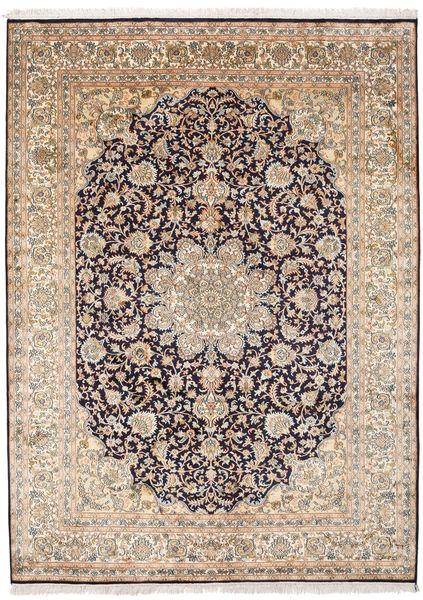 Kashmir Ren Silke Teppe 174X239 Ekte Orientalsk Håndknyttet Lys Grå/Lysbrun (Silke, India)