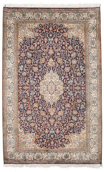 Kashmir Ren Silke Teppe 98X155 Ekte Orientalsk Håndknyttet Lys Grå/Hvit/Creme (Silke, India)