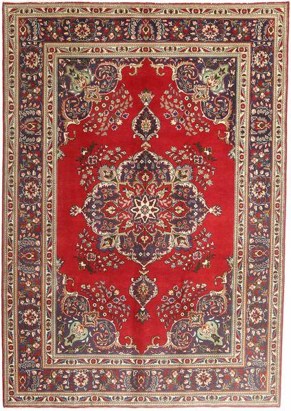 Tabriz Teppe 207X290 Ekte Orientalsk Håndknyttet Mørk Rød/Mørk Brun (Ull, Persia/Iran)